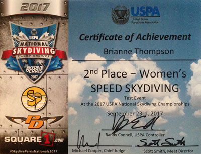 Second Place at USPA Nationals 2017 in the Speed Skydiving Test Event