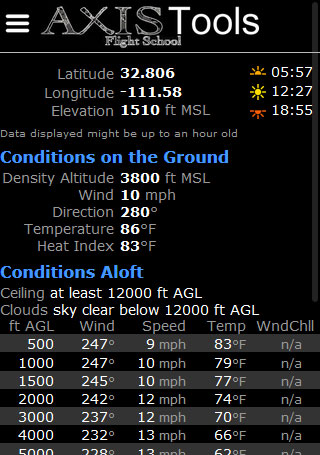 Screen shot for conditions on the ground
