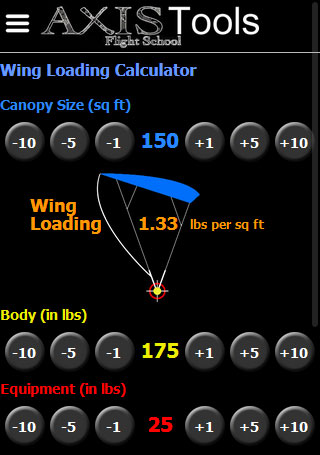 Screen shot for wing loading