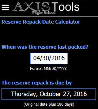 Screen shot for reserve repack calculator